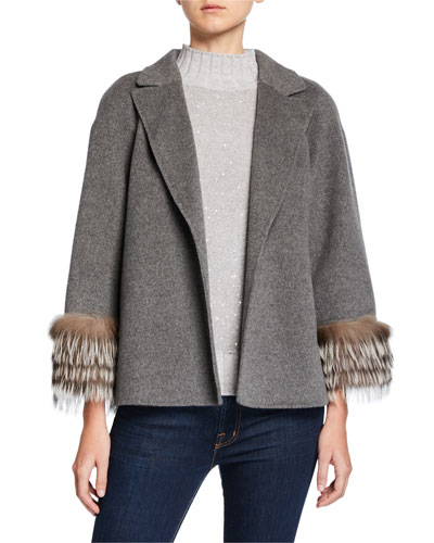 Fur-Cuff Open-Front Cashmere Jacket