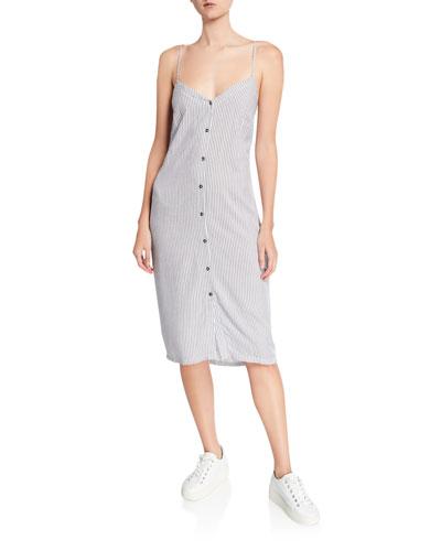 Gidget Striped Button-Front Sleeveless Dress