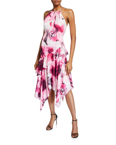 Watercolor Floral Charmeuse Ruffle Halter Dress w/ Handkerchief Hem