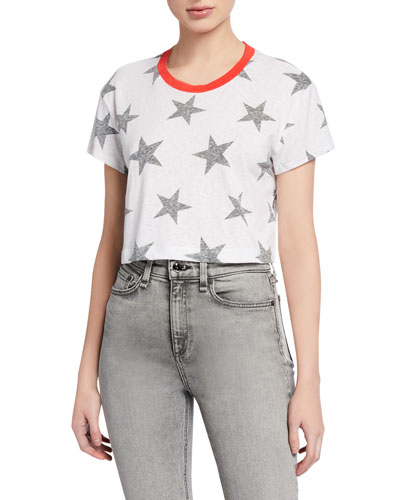 Lakeside Cropped Star-Print Tee