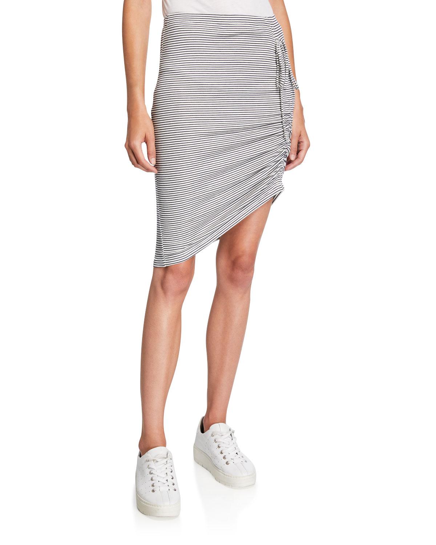 Splendid Skirts ALTO STRIPED SKIRT WITH SIDE RUCHING