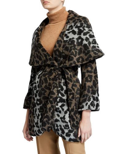 Marla Leopard-Print Wrap Coat