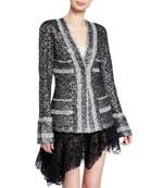 Anais Jourden Metallic-Coated Lace Blazer