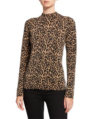 Leopard-Print Cashmere Long-Sleeve Mock-Neck Sweater