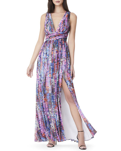 Printed V-Neck Empire-Waist Sleeveless Chiffon Dress