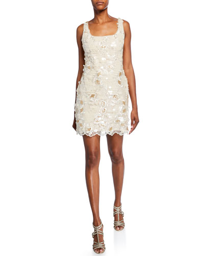Embroidered Sequin Sleeveless Mini Sheath Dress