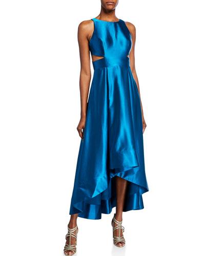 Liquid Satin Sleeveless High-Low Cocktail Dress