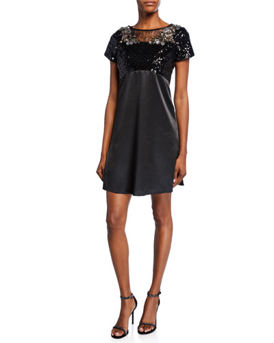 Sequin & Charmeuse Short-Sleeve Trapeze Cocktail Dress