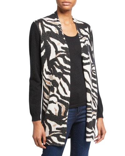 Zebra-Print Open-Front Cashmere Cardigan