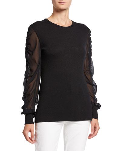 Twofer Cashmere Crewneck Chiffon-Sleeve Sweater