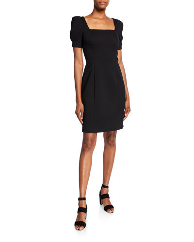 Nacia Square-Neck Short-Sleeve Sheath Dress