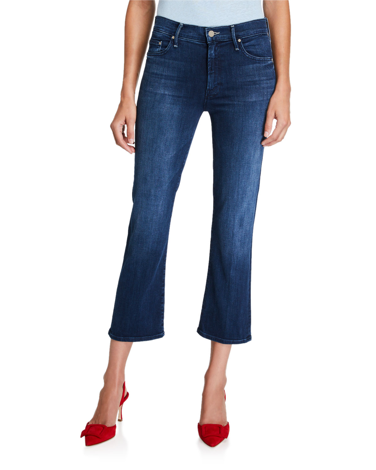 Mother Cottons THE OUTSIDER STRAIGHT-LEG CROP JEANS