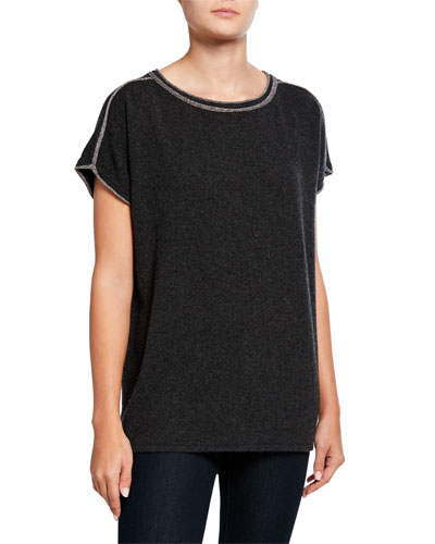 Cashmere Short-Sleeve Crewneck Sweater w/ Metallic Trim