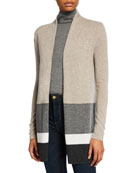 Neiman Marcus Cashmere Collection Block Stripe Open-Front