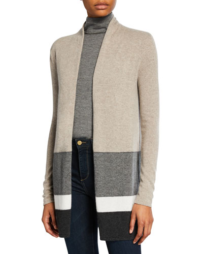 Block Stripe Open-Front Cashmere Cardigan with Chain Trim