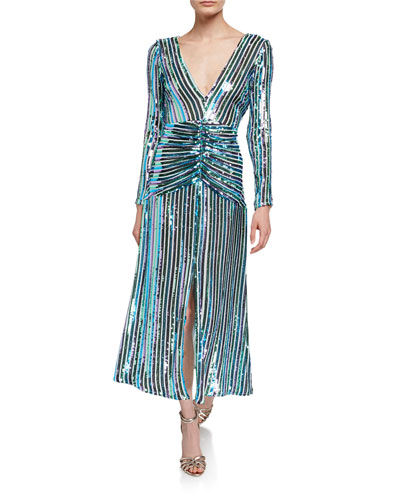 Emmy Sequin Stripe V-Neck Long-Sleeve Dress