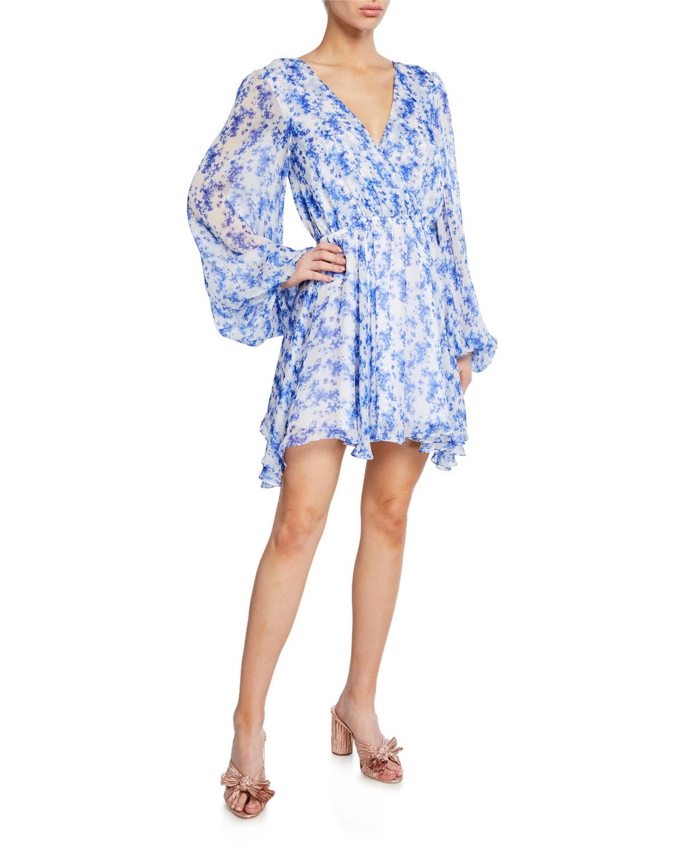 Orlena Blouson-Sleeve Floral Short Dress