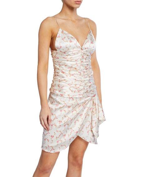 Caroline Constas Mimi Ruched Ditsy Floral Cami with Buttons