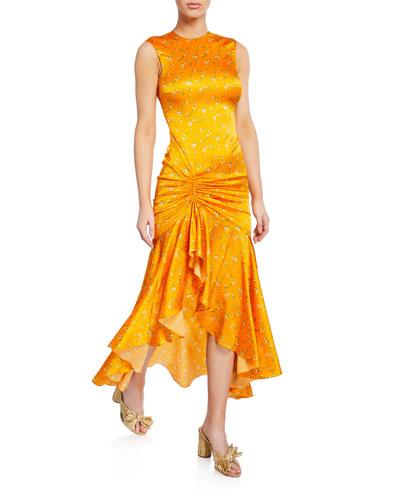 Lonnie Gathered Floral Silk Flare Dress