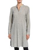 Eileen Fisher Petite Ticking Stripe Button-Down Long-Sleeve Long