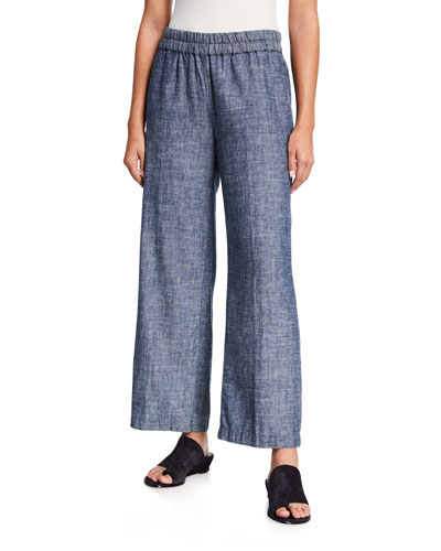 Denim Chambray Pull-On Ankle Pants