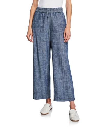 Petite Denim Chambray Pull-On Ankle Pants