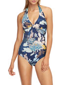 JETS by Jessika Allen Floral Twist-Front One-Piece Swimsuit