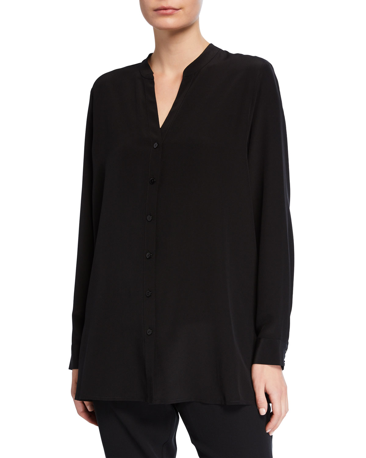 Eileen Fisher T-shirts PLUS SIZE SILK CREPE BUTTON-FRONT SHIRT