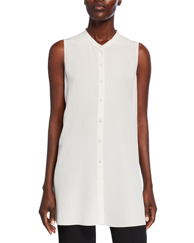 Petite Button-Down Sleeveless Silk Crepe Shirt w/ Mandarin Collar