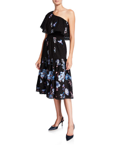Giselle Floral Embroidered One-Shoulder Ruffle-Neck Dress
