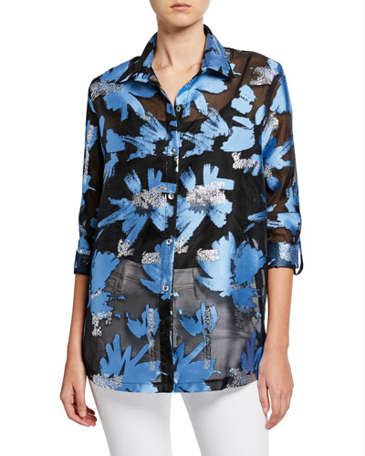 Foilicious Floral Metallic Button-Down Long-Sleeve Easy Shirt