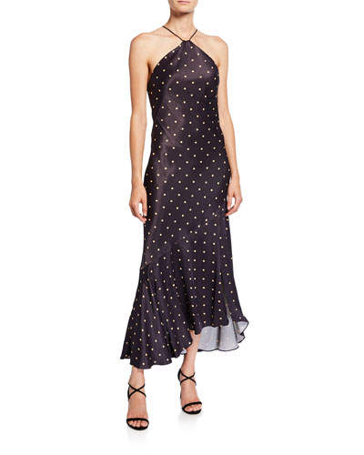Odell Polka-Dot Bias-Cut Midi Halter Dress