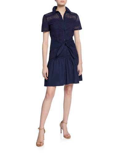 Allery Eyelet Short-Sleeve Button-Down Shirt Dress