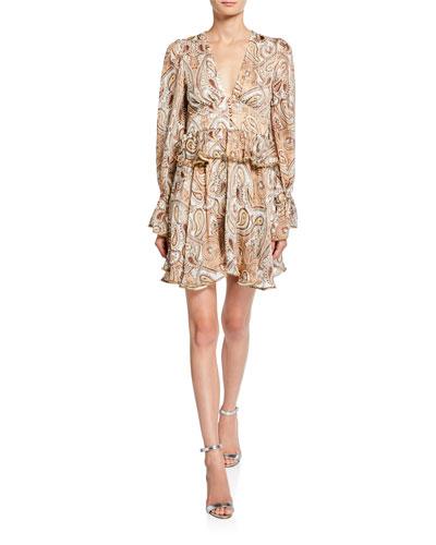 Pallenberg Paisley Plunge-Neck Long-Sleeve Mini Dress w/ Bead Trim