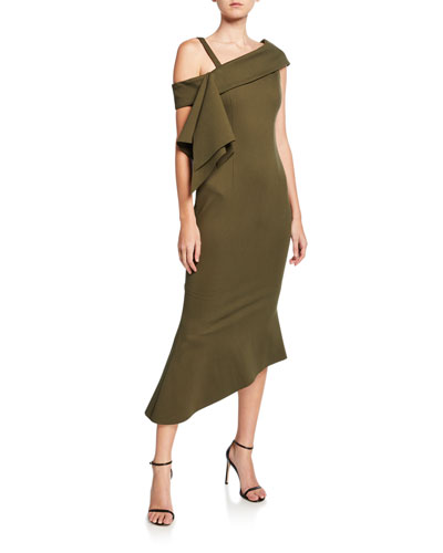 Platform Asymmetric Side-Drape Ponte Dress