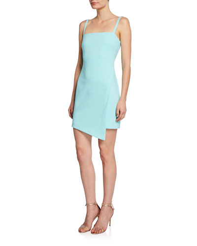 Haven Square-Neck Sleeveless Asymmetric Short Dress