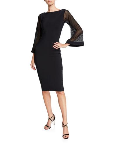Bateau-Neck Mesh-Sleeve Cocktail Dress