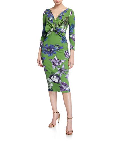 Floral V-Neck Knot-Front 3/4-Sleeve Dress