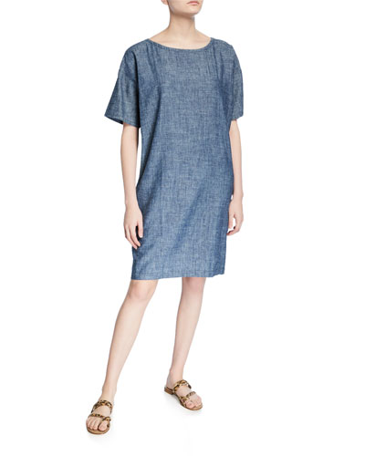 Petite Chambray Short-Sleeve Shift Dress