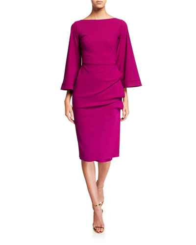 Cassandre Bateau-Neck Flare-Sleeve Shirred-Skirt Dress