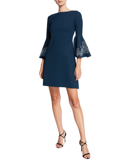 Chiara Boni La Petite Robe Natalia Bell-Sleeve Dress with Embroidery