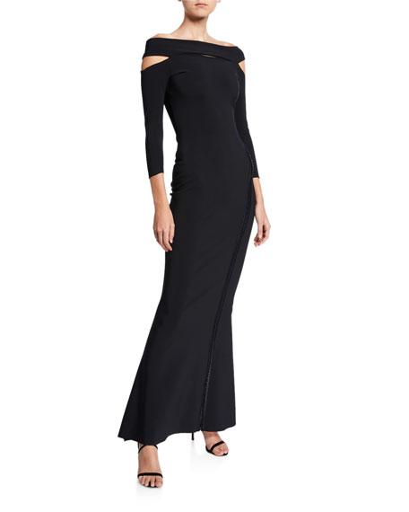 Chiara Boni La Petite Robe Off-the-Shoulder 3/4-Sleeve Dress with Cutouts