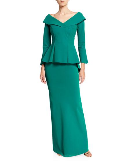 Chiara Boni La Petite Robe V-Neck Bracelet-Sleeve Peplum Gown