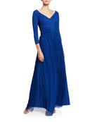 Chiara Boni La Petite Robe V-Neck 3/4-Sleeve A-Line