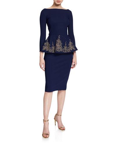 Bateau-Neck 3/4-Sleeve Embroidered Peplum Dress