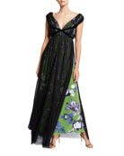 Chiara Boni La Petite Robe Overlay Floral V-Neck