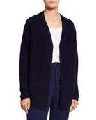 Eileen Fisher Plus Size Organic Cotton/Hemp V-Neck Button-Front