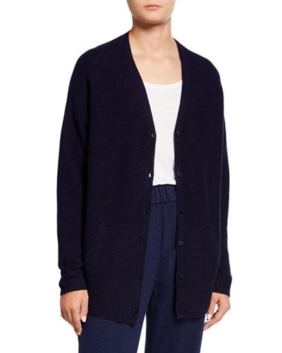 Plus Size Organic Cotton/Hemp V-Neck Button-Front Cardigan