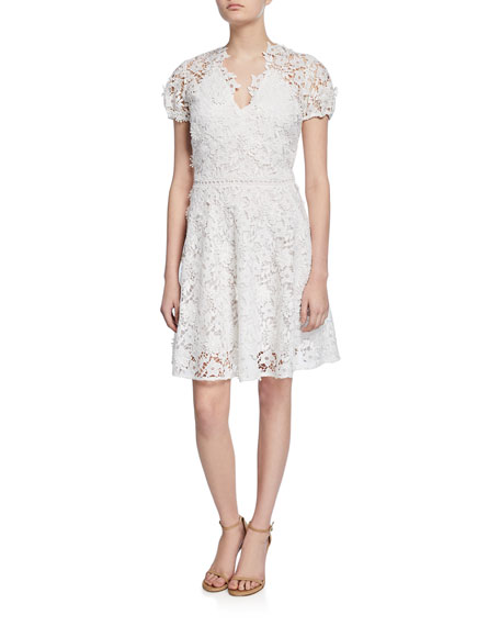 Shoshanna Santenay V-Neck Short-Sleeve Floral Lace Dress
