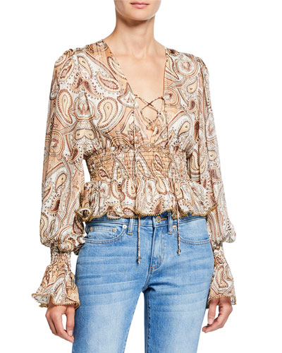 Pallenberg Paisley Shirred Lace-Up Long-Sleeve Peplum Blouse